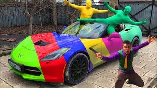 Colorful Corvette & Green Man VS Biker Red Man on Motorcycle Yamaha & Mr. Joe in Funny Race for Kids