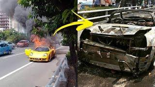 Mobil Sport Mewah Pelat F 4 RAH Terbakar hingga Gosong di Tol Slipi