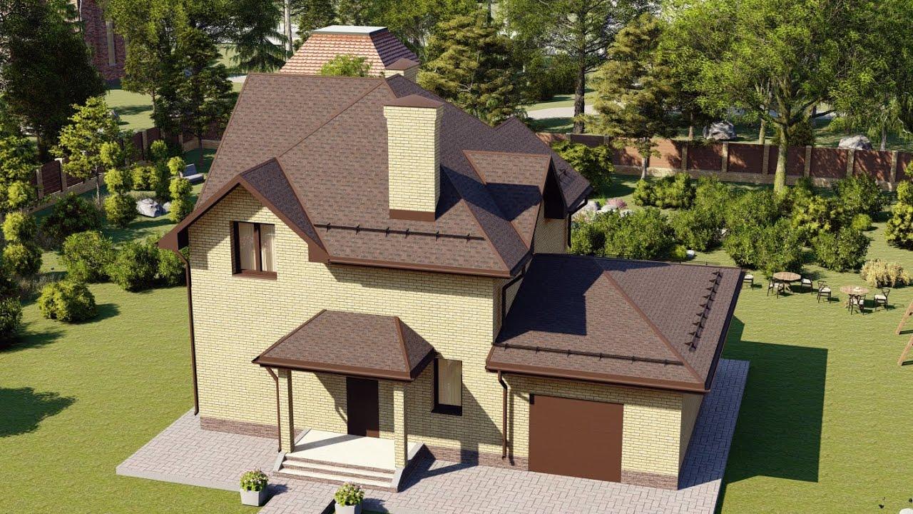 Проект современного двухэтажного дома из пеноблоков с гаражом 136 м2