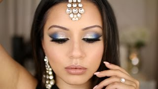 Dramatic Blue & Silver Tutorial | Eid Makeup Look
