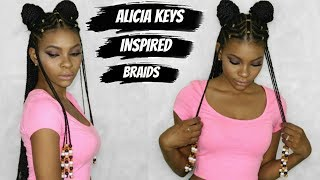 ALICIA KEYS / FULANI INSPIRED BRAIDS TUTORIAL - COLLAB W/ JANET A.