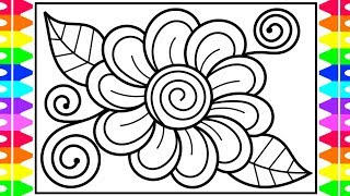 How To Draw A Flower Step By Step For Kids 🌺🌸🌼 Flower Drawing | Flower Coloring Pages For Kids