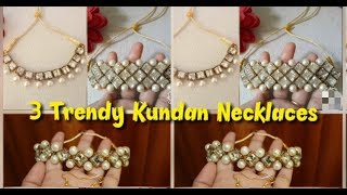 3 Party Wear Pearl Kundan Necklaces Making/Designer Handmade Jewelry