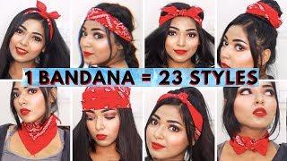 23 Different Ways To Style Bandana | DIY 1 Minute Bandana Hairstyles #bandanatutorial