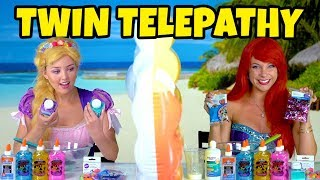 TWIN TELEPATHY SLIME CHALLENGE! (Ariel vs Rapunzel) Totally TV