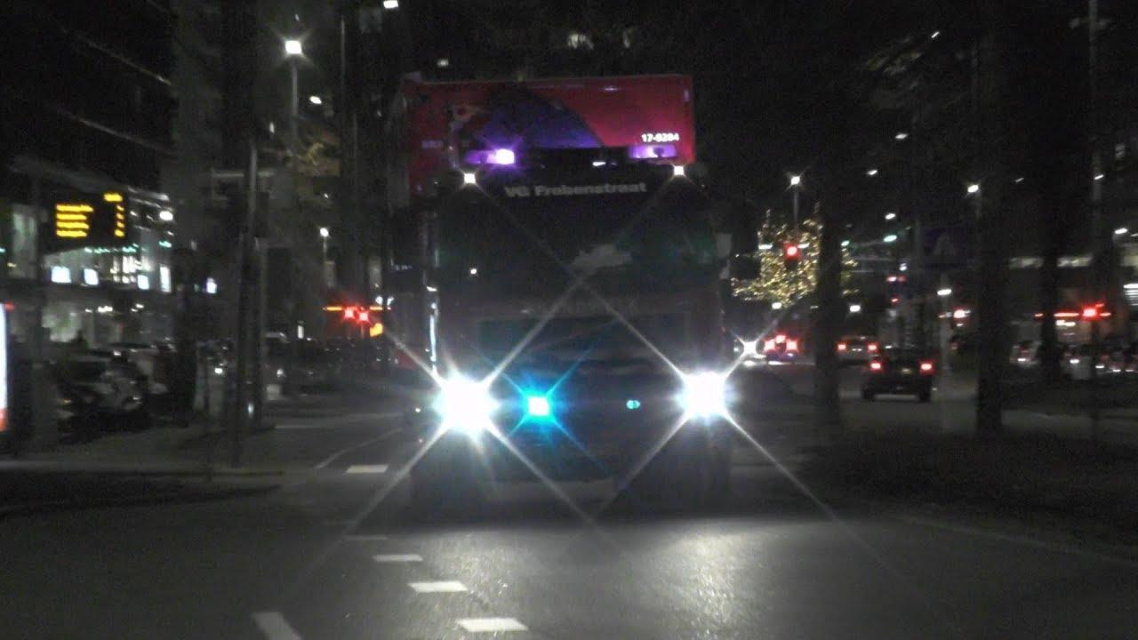 Brandweer Frobenstraat Haakarm + Ladderwagen met spoed naar een Grote Brand in Rotterdam