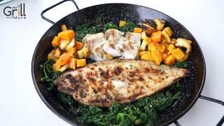 Sogliola e merluzzo con spinaci e zucca alla griglia