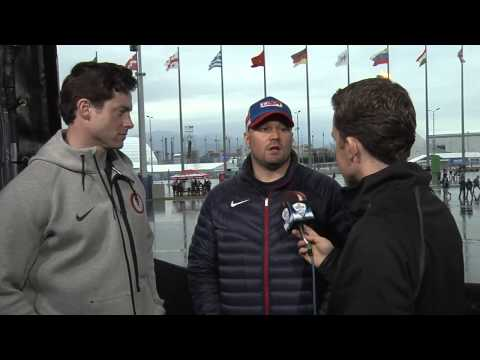 Steve Holcomb interview with Jordan Mason after 2014 bobsled bronze medal