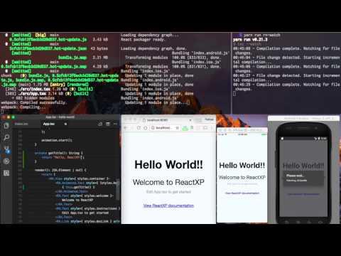 ReactXP HelloWorld Live Reloading Demo - YouTube
