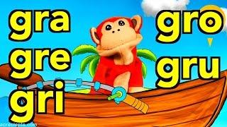 Sílabas gra gre gri gro gru - El Mono Sílabo - Videos Infantiles - Educación para Niños #