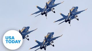 U.S. Navy Blue Angels And Air Force Thunderbirds Fly Over New York City | USA TODAY