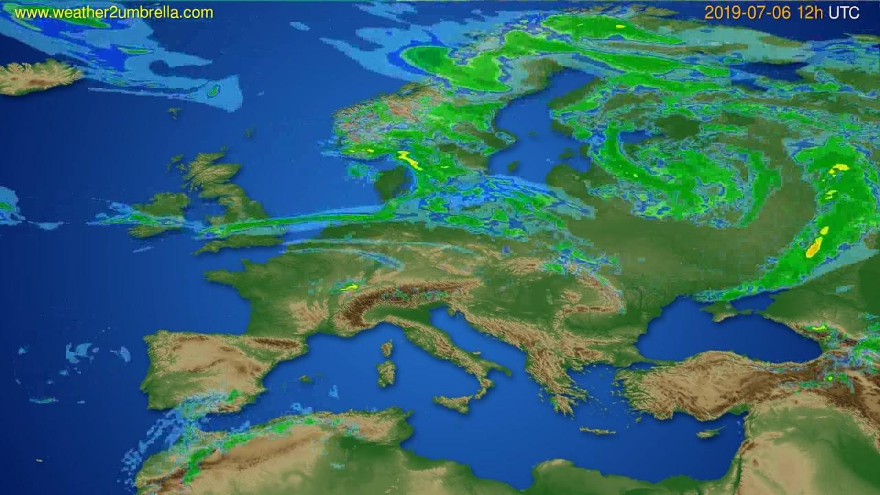 Radar forecast Europe // modelrun: 00h UTC 2019-07-06