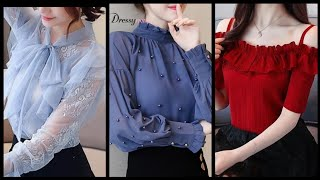 Beautiful Casual Wear Chiffon Blouse Design Ideas For Women 2k20 - Trending Blouse Designs 2020