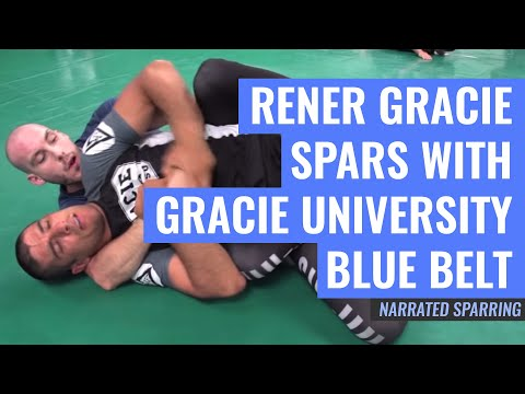 Rener Gracie Spars with Gracie University Blue Belt (Fully Narrated)