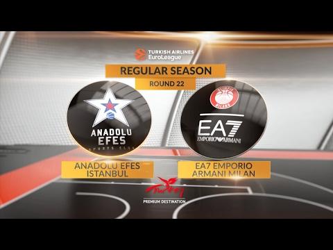 EuroLeague Highlights RS Round 22: Anadolu Efes Istanbul 90-86 EA7 Emporio Armani Milan