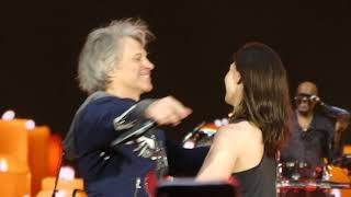 """Video thumbnail of """"Bon Jovi - Bed Of Roses (Live at Wembley, London 2019) GIRL ON STAGE !!!"""""""