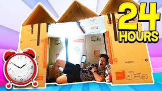 24 HOUR GIANT BOX FORT SURVIVAL CHALLENGE! 📦🏠 (With UNSPEAKABLE)
