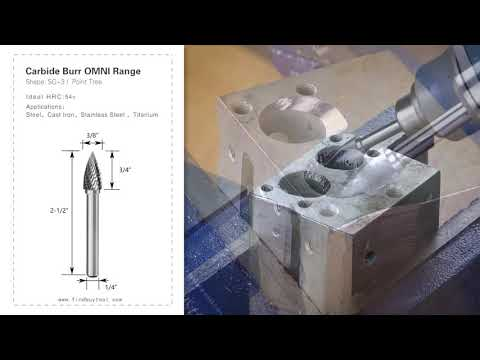 Carbide Burr SG-3 Point Tree Shape OMNI Range Head D 3/8 x 3/4L, 1/4 Shank, 2-1/2 Inch Full Length
