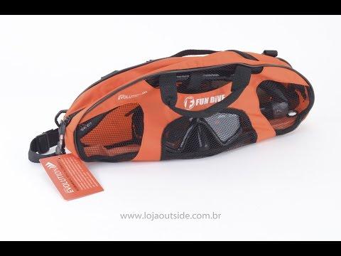 Kit de Mergulho Fundive Mx-03 Máscara + Snorkel + Bolsa