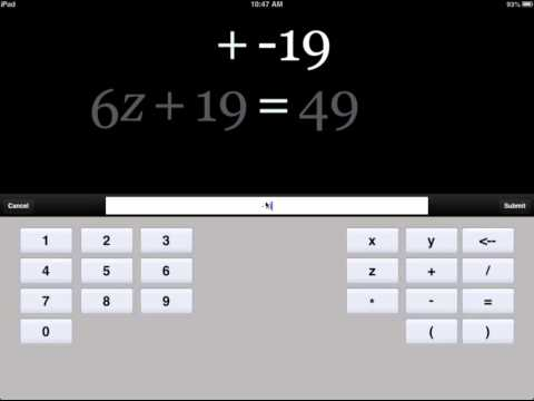 Screenshot of video: Algebra Touch App