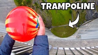 BOWLING BALL Vs. TRAMPOLINE from 165m Dam!