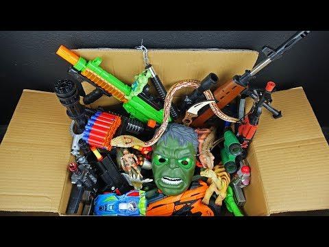 Big Box Full of Toy Weapons - Dinosaur Figure Lighted Hulk Mask - Realistic Powerful Rifles