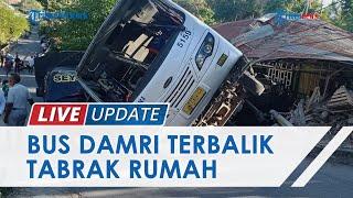 Bus Damri yang Angkut Peziarah Terguling Tabrak Rumah Warga di Kupang, Satu Unit Pick Up Juga Rusak