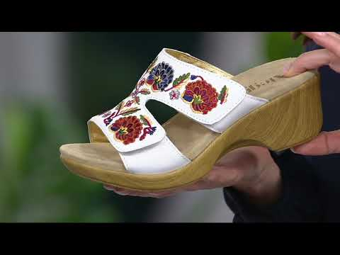 Alegria Embroidered Leather Slip-on Wedge Sandals - Linn on QVC