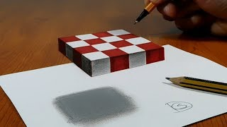3D Trick Art On Paper, Floating Chess