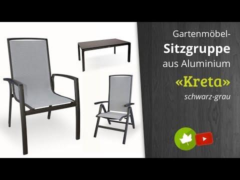 Holz-Haus - Diamond Garden Aluminium Gartenmöbel-Gruppe Kreta Stapelstuhl Hochlehner, Hocker, Tisch