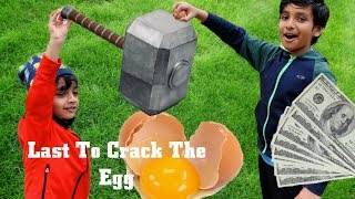 LAST TO CRACK THE EGG WINS $100!! KIDS VERSION OF MR BEAST CHALLENGE!!