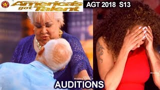 Celina and Filberto Senior Couple Sexy Surprise -MEL B UPSET America's Got Talent 2018 Auditions AGT