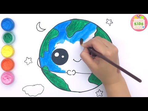 How to Draw the Green Earth, Protect Environment Drawing and Coloring for Kids | Candy Kids Art ☆