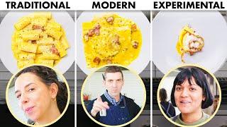 3 CHEFS COOK PASTA CARBONARA 3 WAYS: TRADITIONAL, MODERN, EXPERIMENTAL | BON APPÉTIT