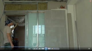Откатная стеклянная дверь, обои под покраску, обо всём понемногу