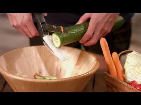 Rosenstein & Söhne 2in1-Küchenschneider: Messer und Schere mit integriertem Schneidebrett
