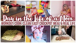 DAY IN THE LIFE OF A MOM OF 3 // CLEANING, COOKING, WORKOUT + GROCERY HAUL & CROCKPOT MEAL