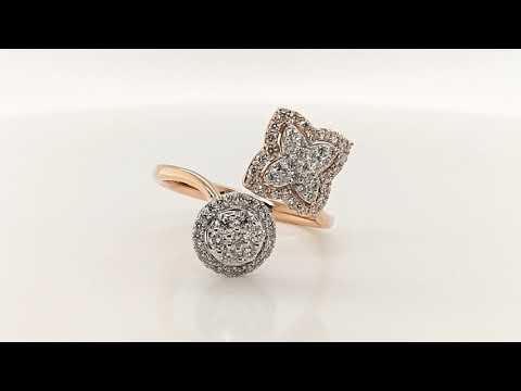 Anillo CyC Colección Halo con diamantes en oro blanco y rosa 18k