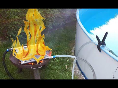 Pool Heizung mit Kühlergrill - selber gebaut - test