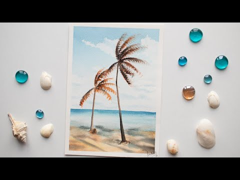 Watercolor BEACH SEA PALMS painting for beginners