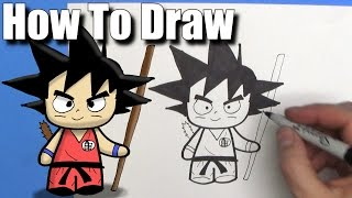 How To Draw Goku - EASY Chibi - Step By Step - Kawaii