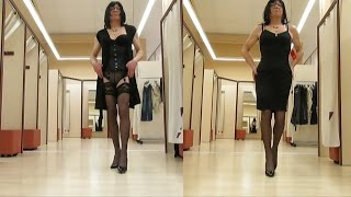Shopping With Corset And Stockings  - Transvestite - Crossdresser