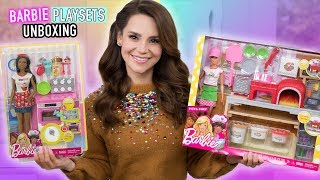 NEW Barbie Baker and Pizza Chef Playset Toy UNBOXING + Mini Pizza Recipe!