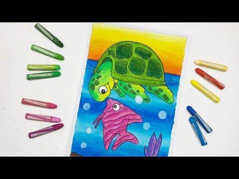 Cara Gradasi Warna Dengan Crayon Oil Pastel Menggambar Pemandangan