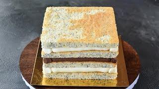 МАКОВЫЙ бисквит ☆ Сборка КВАДРАТНОГО торта