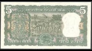 5 RUPEES DEER SERIES NOTES OF INDIA AND ITS ACTUAL PRICE DETAILS.