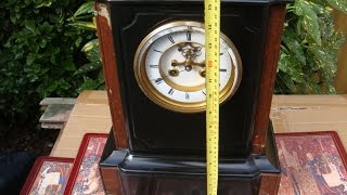 French Vintage Old Antique Slate Mantel  Mantle  Clock  & Key Pendulum See Video