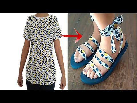 RECICLA Y TRANSFORMA TU ROPA VIEJA EN SANDALIAS - DIY CLOTHES - TRANSFORM YOUR OLD CLOTHES TO NEW