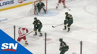 Joel Eriksson Ek Deflects Puck Into Own Net To Give Red Wings A Goal