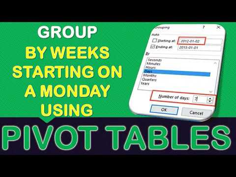 Group Sales by Weeks Starting on a Monday With Excel Pivot Tables